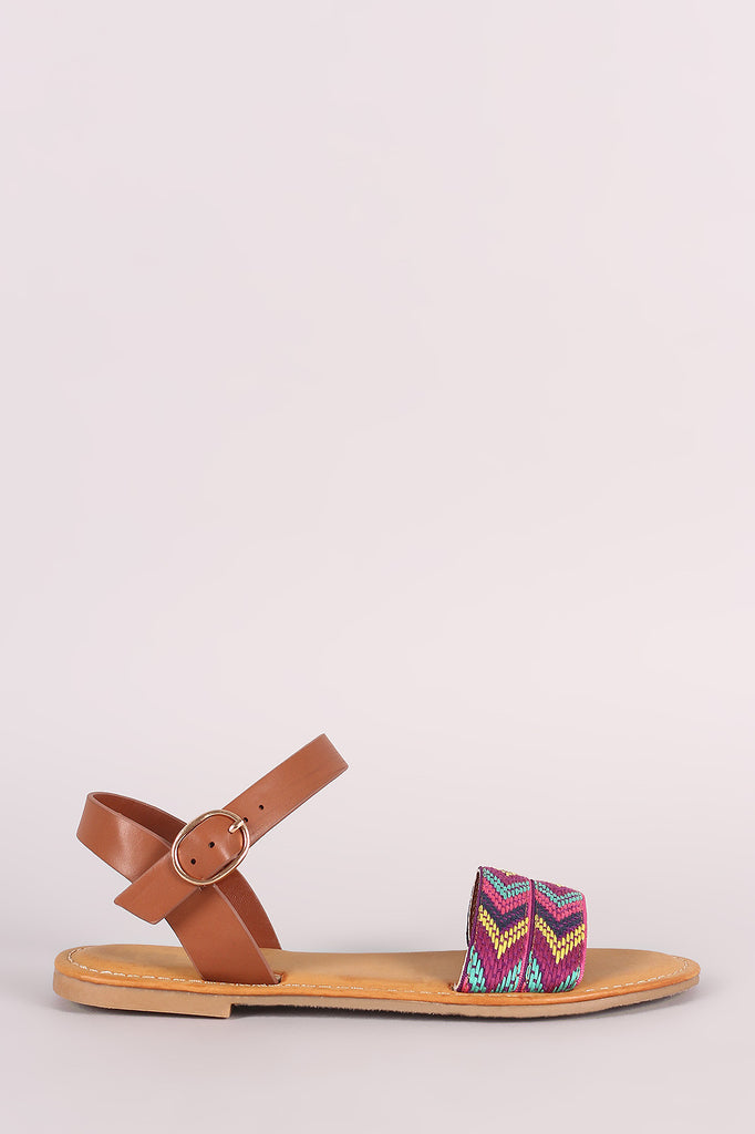 Bamboo Embroidered Chevron Ankle Strap Flat Sandal