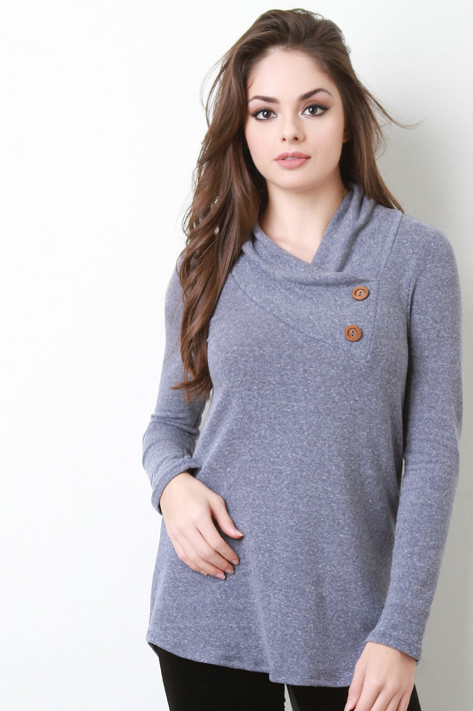 Asymmetrical Double Button Neckline Sweater
