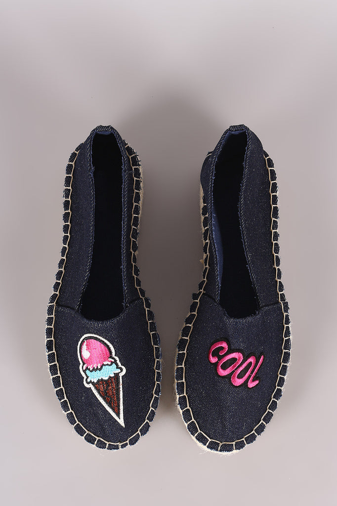 Bamboo Denim Fun Patches Espadrille Flat