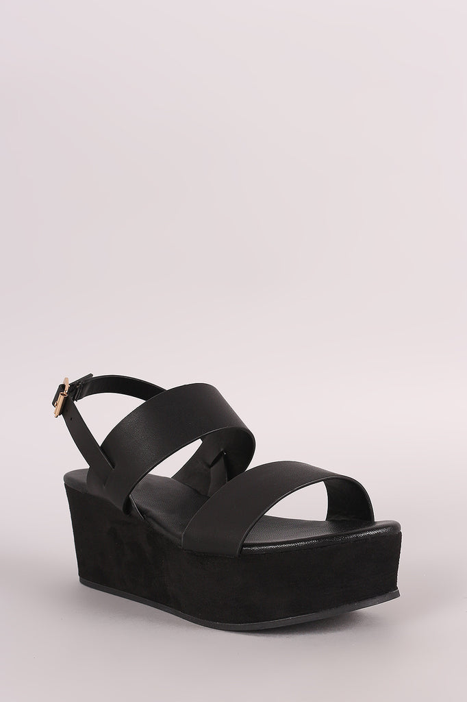 Bamboo Open Toe Double Band Platform Wedge