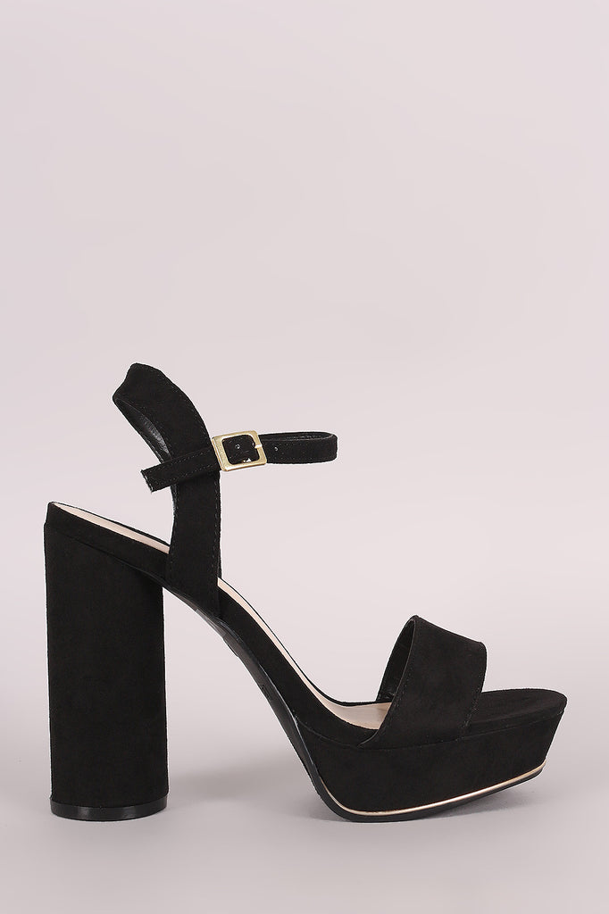 Bamboo Suede Ankle Strap Chunky Round Heel