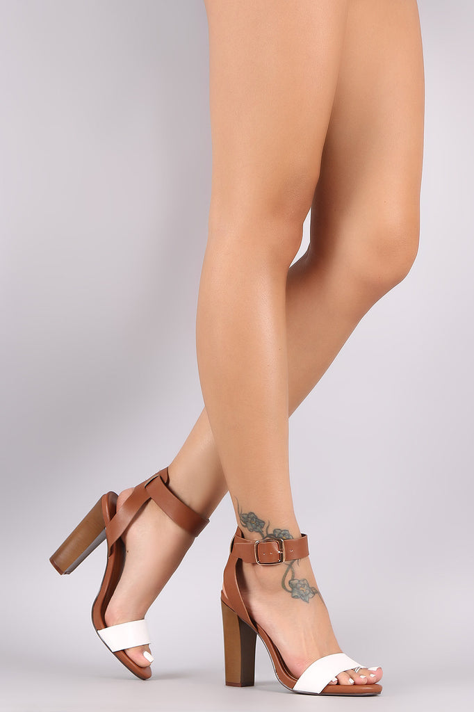 Bamboo Vegan Leather Ankle Strap Chunky Heel