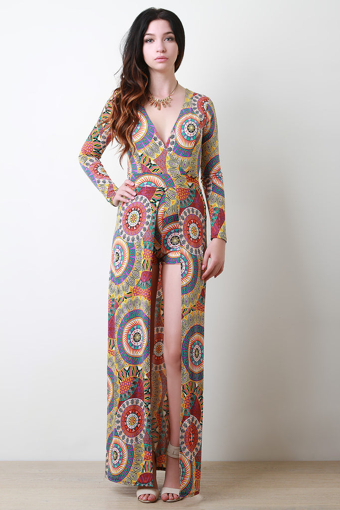 Bohemian Circle Surplice Romper Maxi Dress