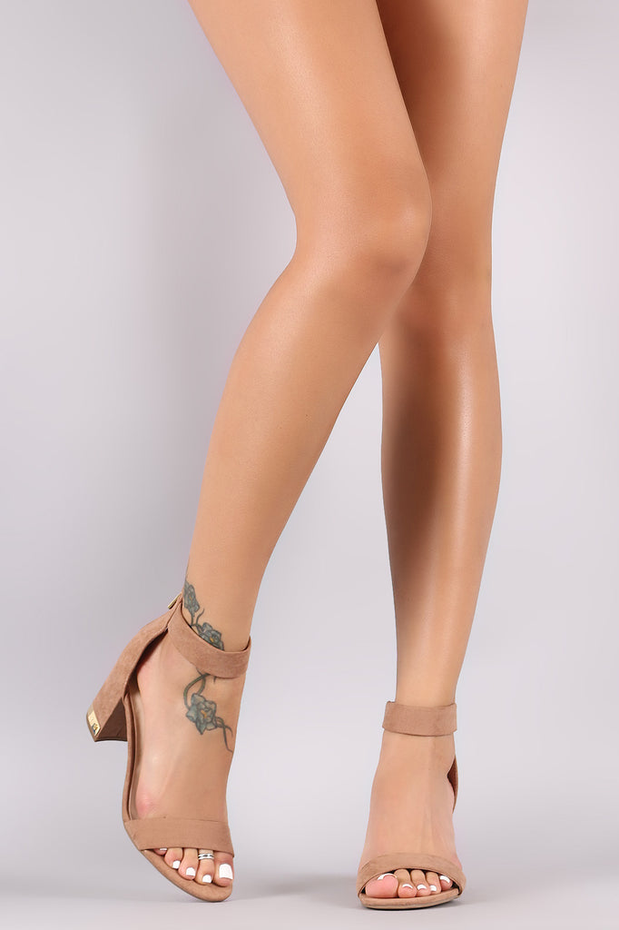 Bamboo Suede Open Toe Ankle Strap Chunky Heel