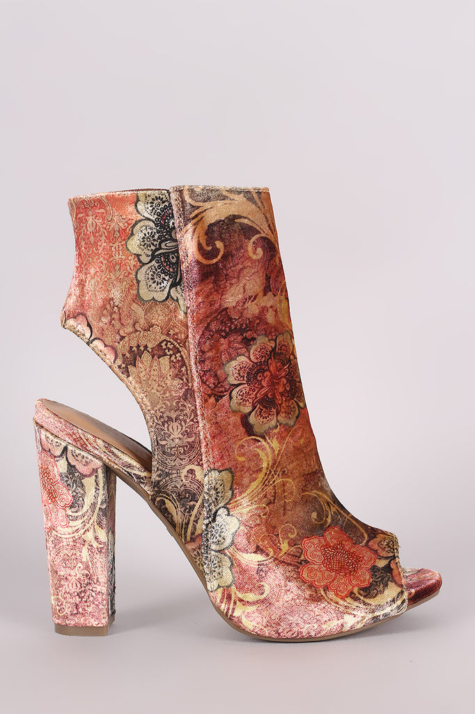 Bamboo Floral Velvet Peep Toe Chunky Heeled Booties