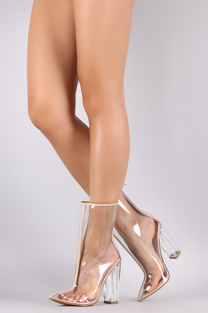 Bamboo Transparent Pointy Toe Chunky Heeled Boots