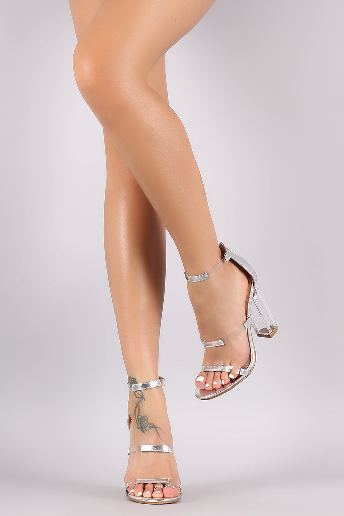 Bamboo Transparent Inset Triple Straps Chunky Clear Heel