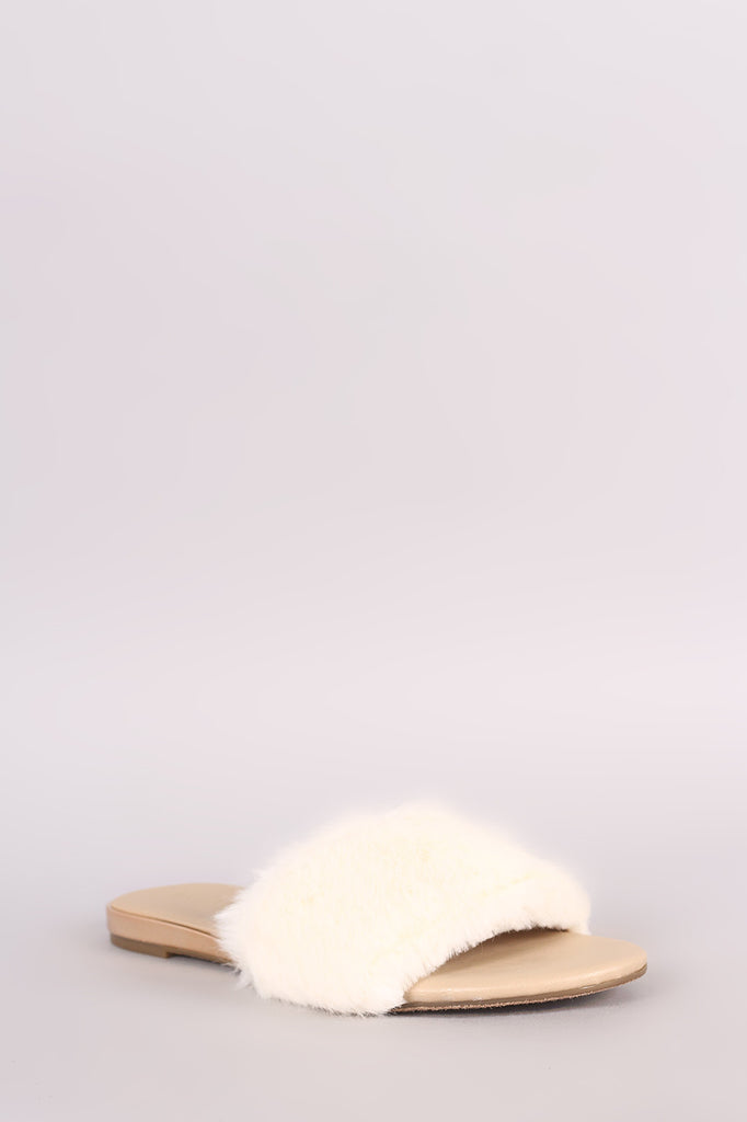 Bamboo Open Toe Faux Fur Slide Sandal
