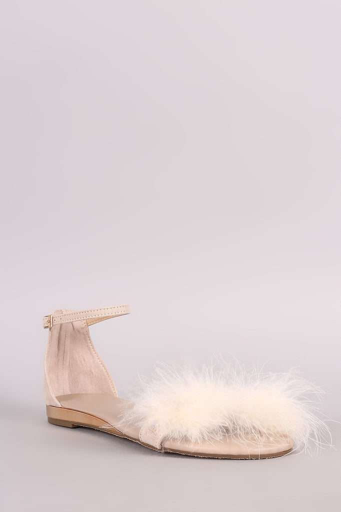 Bamboo Suede Faux Feather Accent Ankle Strap Flat Sandal