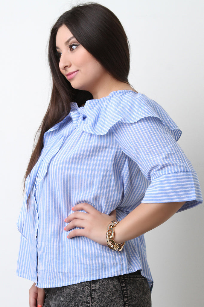Boat Neck Button Up Ruffle Striped Top