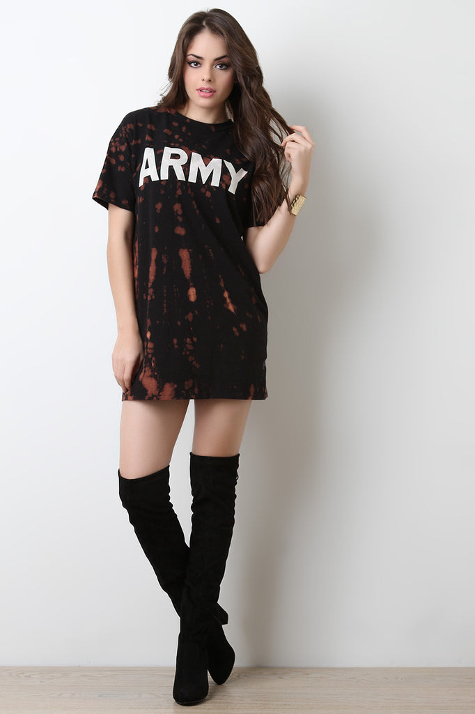 Army Graphic Print Bleach T-Shirt Dress