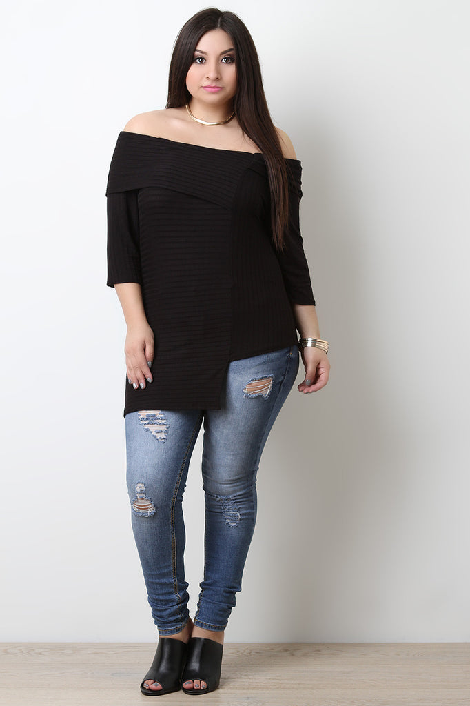 Asymmetrical Off The Shoulder Ribbed Knit Top
