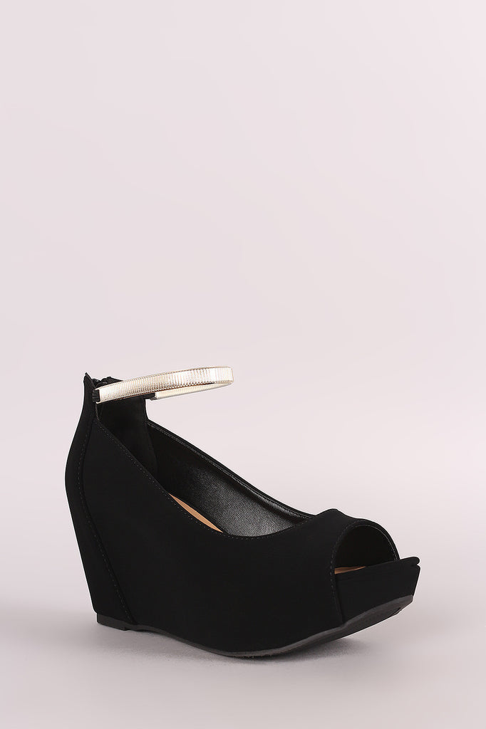 Bamboo Nubuck Peep Toe Wedge Pump