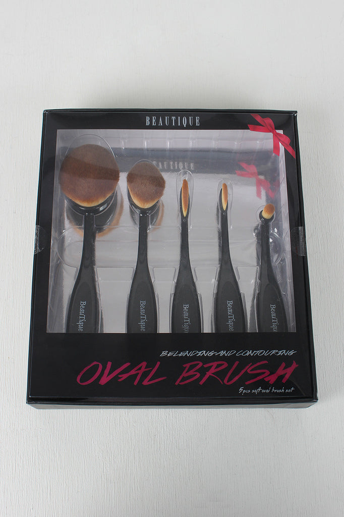 Beautique Blending And Contouring Oval Five Piece Brush Set
