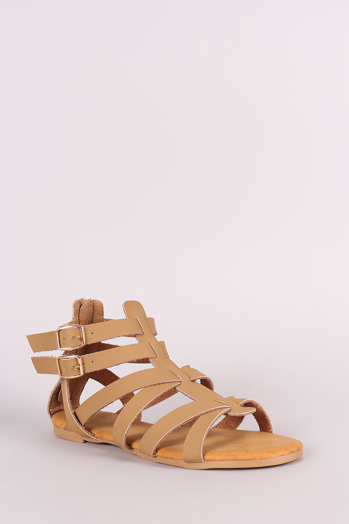 Bamboo Nubuck Buckled Strappy Gladiator Flat Sandal