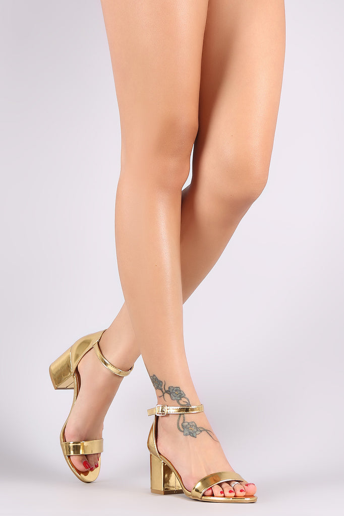 Bamboo Metallic Patent Ankle Strap Open Toe Block Heel