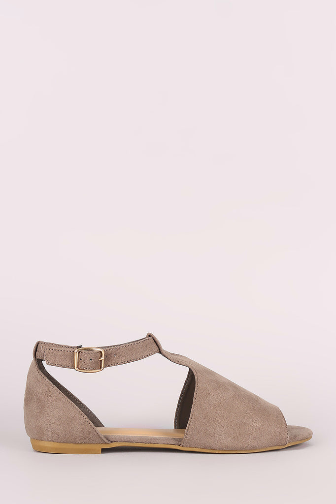 Bamboo Suede Cutout Ankle Strap Flat Sandal