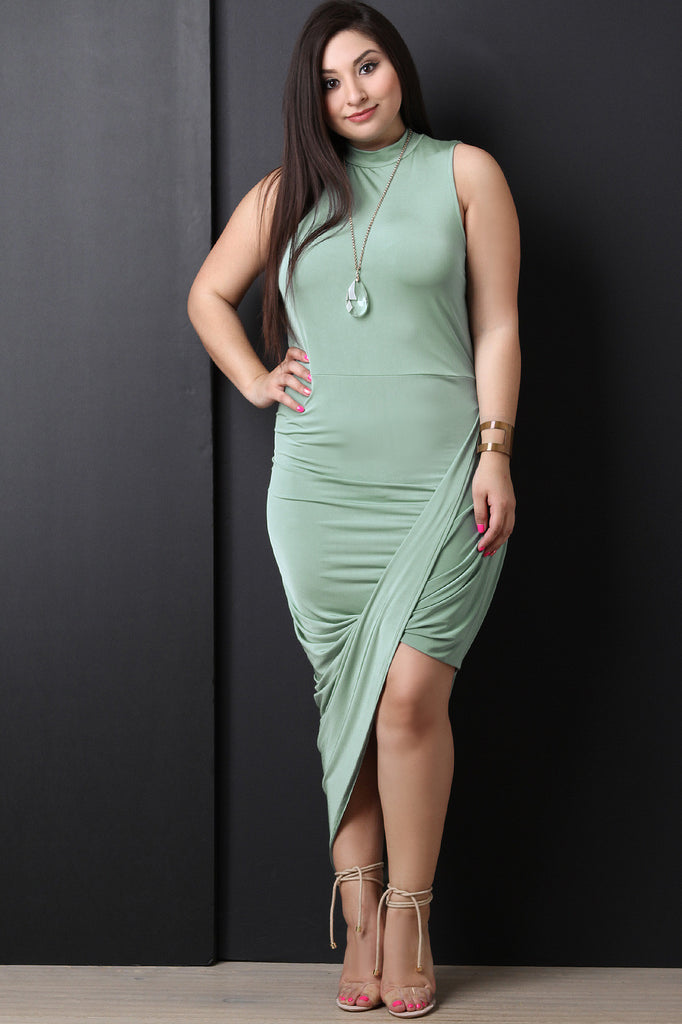 Asymmetrical Twist Sleeveless Dress