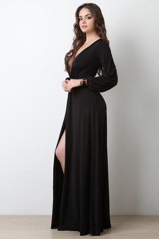 Plunging Neck High Thigh Slit Maxi Dress