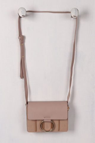 Hoop Accent Vegan Leather Crossbody Bag