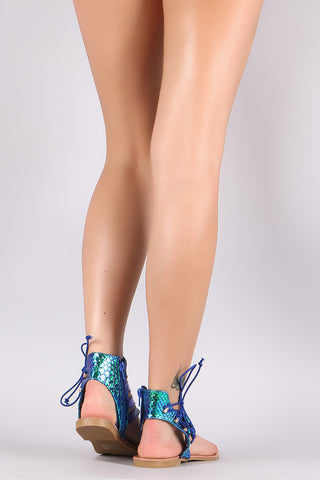 Liliana Holographic Snake Side Lace Up Thong Flat Sandal