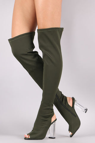 Fitted Elastane Chunky Lucite Heeled Over-The-Knee Boots