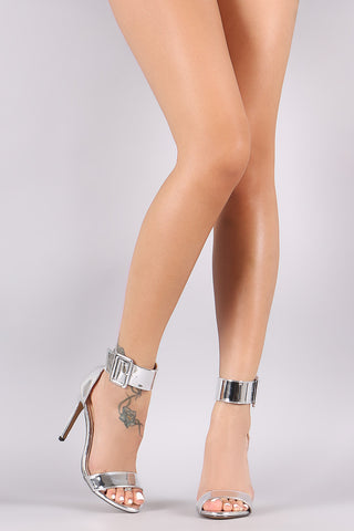 Liliana Patent Ankle Cuff Open Toe Stiletto Heel