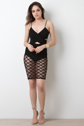 Mesh Diamond Grid Cut Out Midi Dress