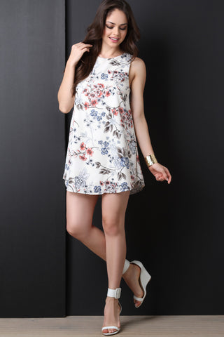 Floral Keyhole Back Shift Dress