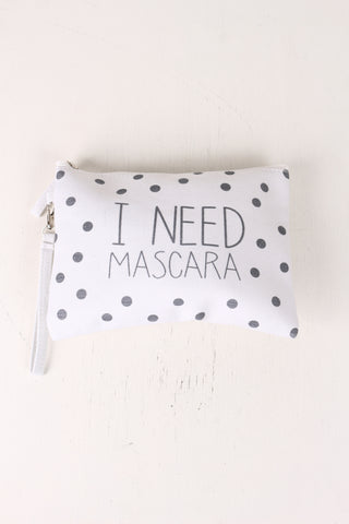 I Need Mascara Polka Dot Canvas Clutch