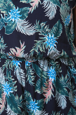Tropical Print Short Sleeve Pocketed Jumpsuit