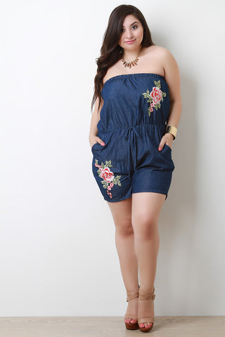 Floral Applique Tube Denim Romper