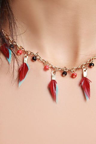 Suede Beaded Feather Choker Necklace Set