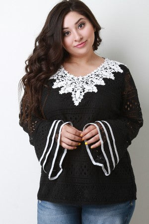 Embroidered Lace Trim Lace Top