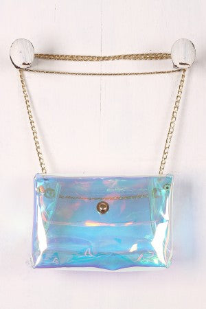 Holographic Jelly Crossbody Clutch Bag