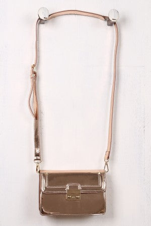 Mirrored Metallic Stud-Trim Crossbody Clutch Bag