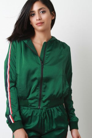 Hooded Stripe Trim Zip Up Bomber Jacket