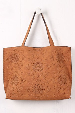 Perforated And Whipstitched Reversible Tote