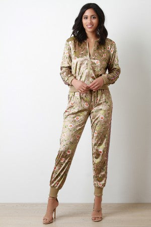 Velvet Floral Two Piece Track Suit