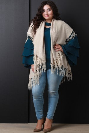 Knotted Tassel Draped Open Front Vest