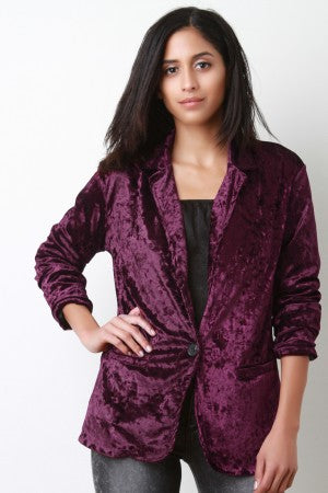 Crushed Velvet Single Button Pocket Blazer