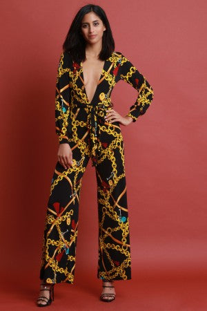 Chain Print Plunge Neck Wide Leg Jumpsuit
