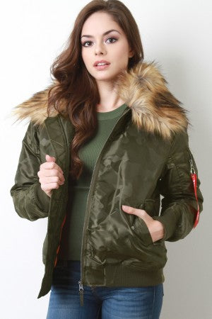 Remove Before Flight Camo Fur Collar Bomber Jacket