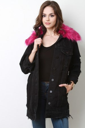 Longline Faux Fur Collar Denim Jean Jacket