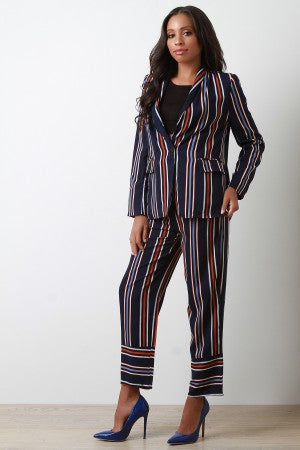 Striped Blazer Suit Set