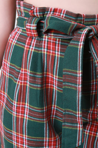 Plaid Cinched Bow-Tie High Waisted Pants