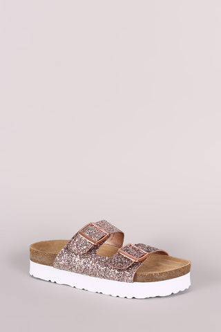 Bamboo Glitter Encrusted Buckled Footbed Slide Sandal
