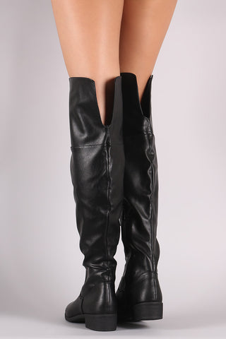 Bamboo Back Slit Over-The-Knee Riding Boots