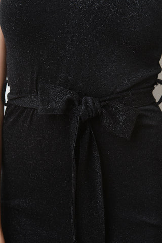 Lurex V-Neck Waist Sash Wide Leg Jumpsuit