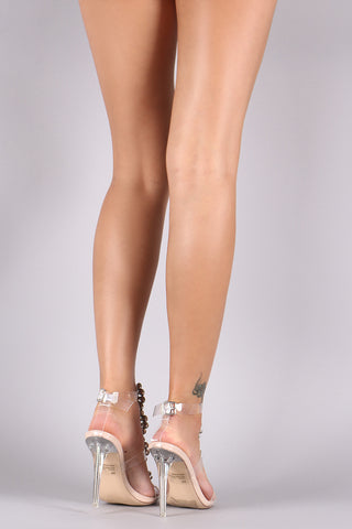 Faux Crystal Embellished Strappy Clear Stiletto Heel